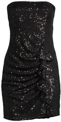 Parker Black Aurelia Sequin Side Ruffle Strapless Sheath Dress
