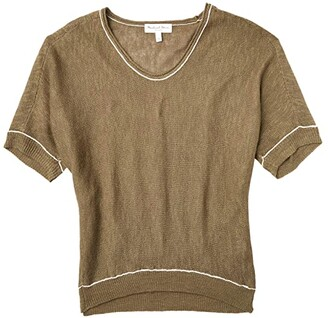 Michael Stars Chrisette Cocoon Pullover Linen Blend Sweater with Contrast (Olive/Chalk Stripe) Women's Clothing