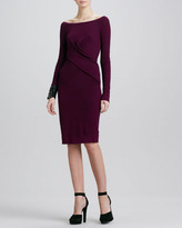 Donna Karan Asymmetric Long-Sleeve Drape Dress, Amethyst