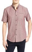 7 Diamonds Men's Bon Voyage Flower Print Woven Shirt