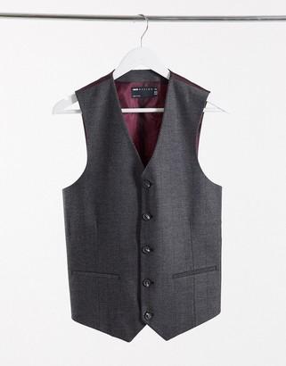 ASOS DESIGN wedding skinny wool mix suit suit vest in charcoal herringbone