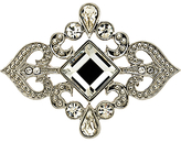 Monet Crystal Scroll Brooch, Silver