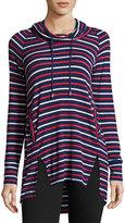 Neiman Marcus Striped Cowl-Neck Long-Sleeve Tunic, Blue Pattern