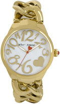 Betsey Johnson Women's Gold-Tone Stainless Steel Link Bracelet Watch 38mm BJ00297-12