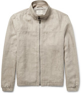Club Monaco Herringbone Linen Harrington Jacket - Mushroom