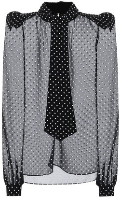 Saint Laurent Polka-dot silk-blend muslin blouse