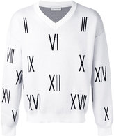 Gosha Rubchinskiy V-neck numbers sweater - men - Cotton - XS