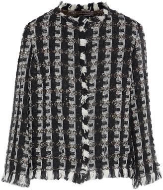 Oscar de la Renta Frayed Sequin-embellished Tweed Jacket