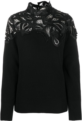 Sacai Embroidered Panel Ribbed Knit Jumper