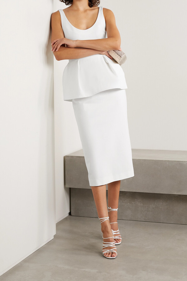 Thumbnail for your product : Cushnie Stretch-crepe Peplum Midi Dress - White