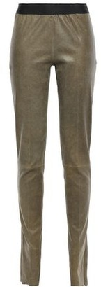 Ann Demeulemeester Brushed Stretch-leather Leggings