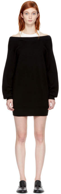 Alexander Wang Black and Off-White Bi-Layer Dress