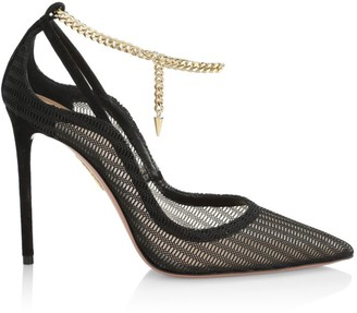 Aquazzura Bond Girl Suede-Trimmed Mesh Pumps