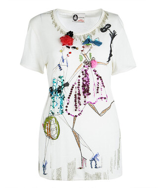 Lanvin Off White Printed Embellished T-Shirt XS
