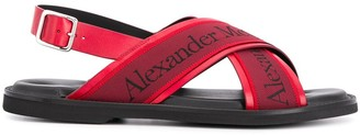 Alexander McQueen Logo Crossover Strappy Sandals
