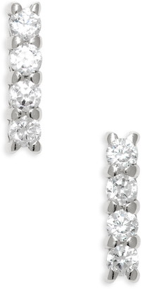 Argentovivo Teeny Pave Bar Stud Earrings