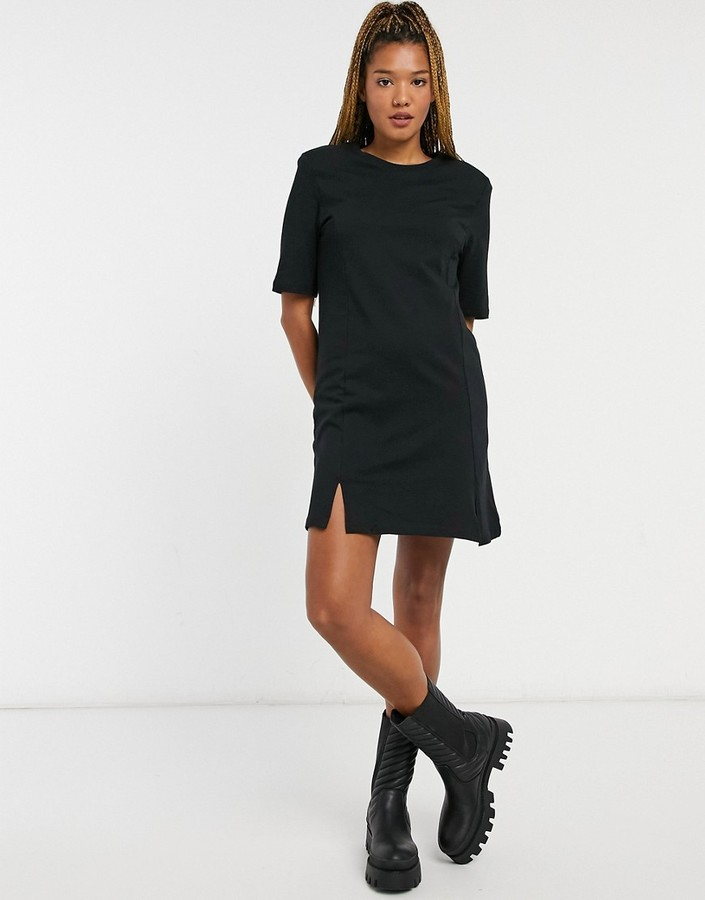 Thumbnail for your product : Monki Andrea organic cotton mini t-shirt dress with splits in black