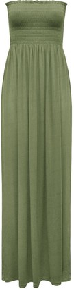 Fashion Star Womens Boobtube Bandeau Sheering Maxi Dress Jade Green UK 8