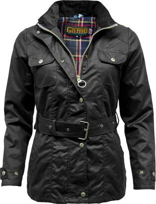 Game Technical Apparel Womens Blaze Antique Waxed Cotton Wax Jacket with Belt & Tartan Lining (XL