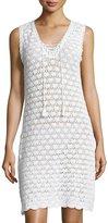 Letarte Sleeveless Crochet Lace-Up Dress, White