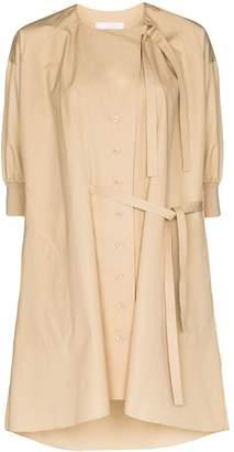 Khaki Button-down Shirt Dress