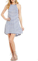 Billabong Sing Along High Neck Stripe Knit Swing Dress