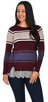 As Is LOGO by Lori Goldstein Color-Block Cotton Cashmere Sweater w/Lace