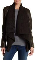 Lucky Brand Knit Trim Genuine Leather Jacket