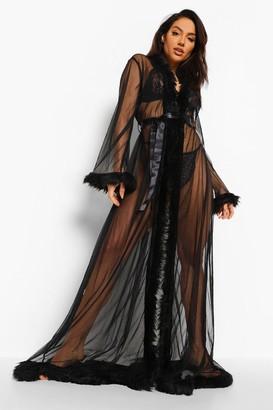 boohoo Premium Fluffy Trim Maxi dressing gown