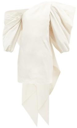 Carolina Herrera One-shoulder Gathered Silk-faille Mini Dress - White