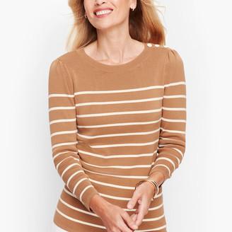 Talbots Button Shoulder Stripe Sweater