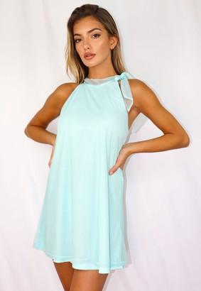 Missguided Petite Mint Chiffon High Neck Trapeze Mini Dress
