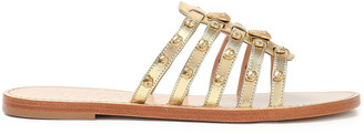 Moschino Embellished Metallic Leather Sandals