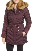Laundry by Shelli Segal Petite Women's Belted Down & Feather Fill Utility Parka With Faux Fur Trim