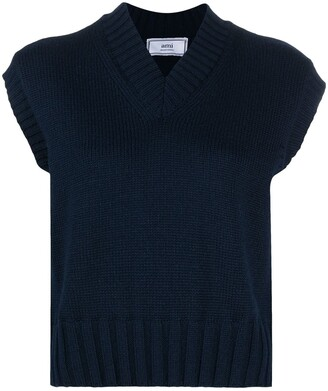 AMI Paris Sleeveless Knitted Jumper