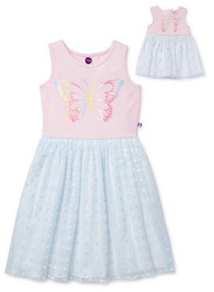 "Dollie & Me Girls Glitter Butterfly Tutu Dress With Matching 18"" Doll Dress, Sizes 4-12"