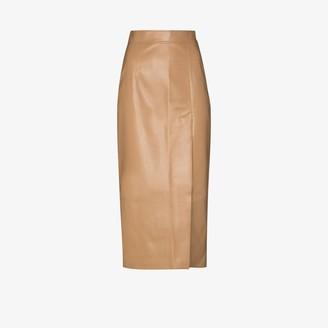ALEKSANDRE AKHALKATSISHVILI Faux Leather Side Split Pencil Skirt