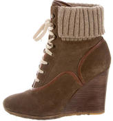 Chloé Lace-Up Wedge Booties