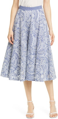 Alice + Olivia Parcell Cotton Eyelet Flared Skirt