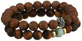 Dee Berkley Power Tiger Eye Genuine Gemstone Beaded Bracelet Set (Brown) Bracelet