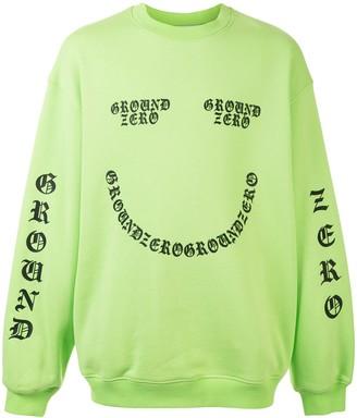 Ground Zero Neon Slogan Print Sweatshirt