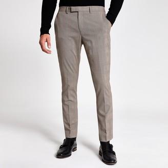 River Island Mens Ecru check stretch skinny suit trousers