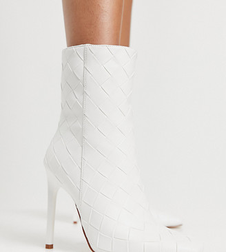 Simmi Wide Fit Simmi London Wide Fit Melina woven heeled ankle boots in white