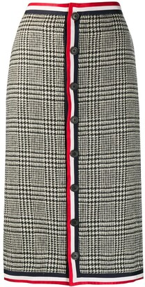 Thom Browne Prince of Wales Shetland wool low-rise skirt