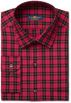 Club Room Men's Estate Classic-Fit Wrinkle Resistant Red Brodie Tartan Dress Shirt, Only at Macy's