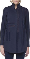 Akris Punto Lace-Trim Stand-Collar Blouse, Navy