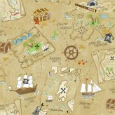York Wall Coverings York wallcoverings Peek-A-Boo Pirate Map Wallpaper