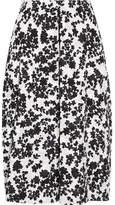 Jil Sander Floral-print Cotton-poplin Midi Skirt - Black