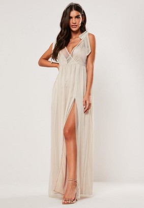 Missguided Bridesmaid Blush Tie Strap Organza Maxi Dress