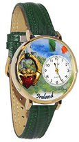 Whimsical Watches Women's G1420004 Unisex Gold Ireland Hunter Green Leather And Goldtone Watch